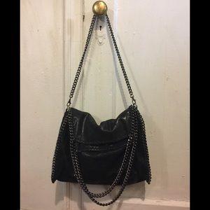 Handbags - Black Glitter Leather Bag w/ Gunmetal Chain Link.